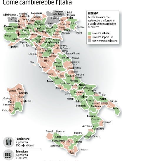 Cartina Italia Politica Con Tutte Province.Come Sara L Italia Dopo Il Taglio Delle Province Montecosaro