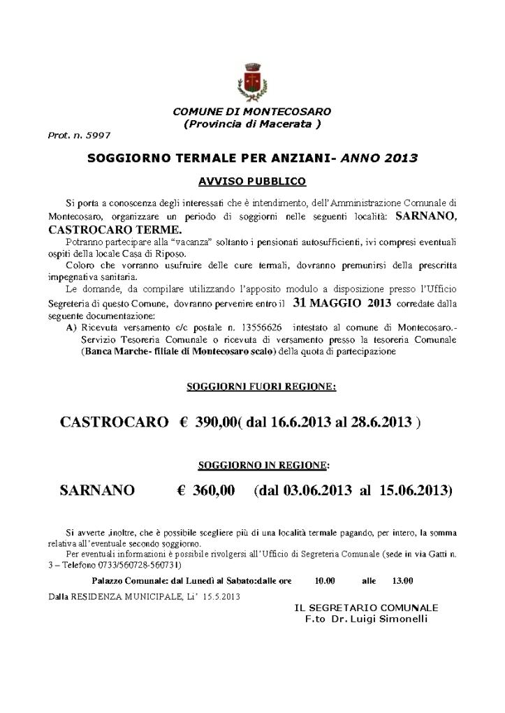 Avviso iscrizioni soggiorni termali 2013 – Montecosaro