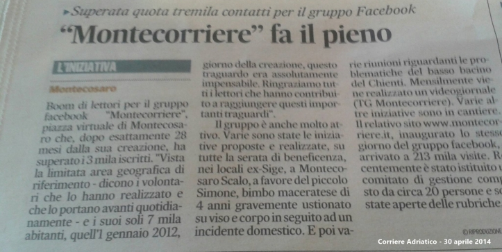 Corriere Adriatico 30/04/14
