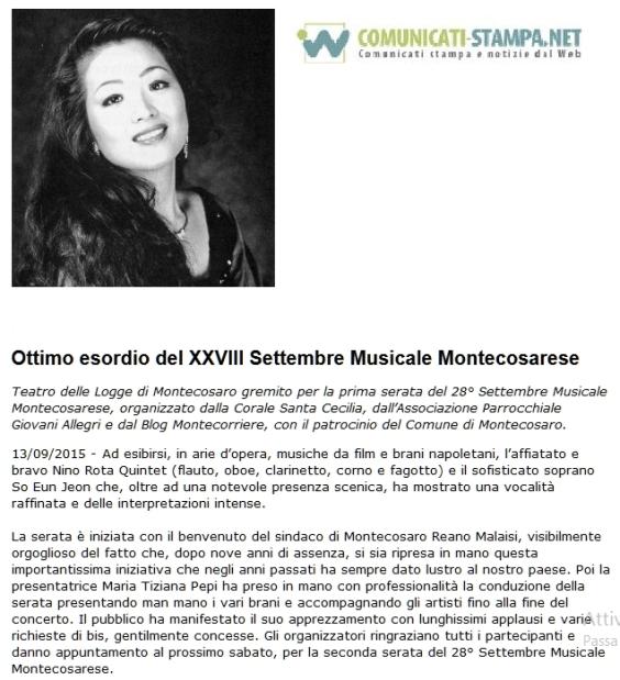 articolo Nino Rota Quintet e So Eun Jeon