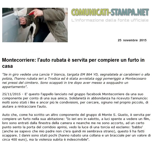 Montecorriere furto in casa