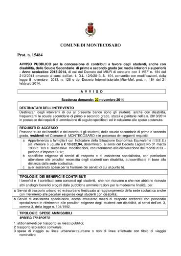 WELFARE DELLO STUDENTE - BANDO-001