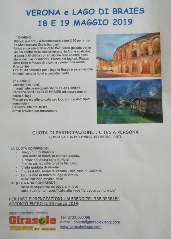 La Pro Loco organizza gita a Verona e Lago di Braies ...