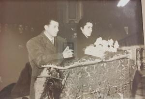 Matrimonio di Enea Vallesi e Anna Maria Angeletti (genitori del lettore), celebrato il 14/02/1955 nella Chiesa San Lorenzo Martire di Montecosaro.